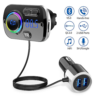 FM Transmitter Bluetooth 5.0 Quick Charge QC3.0 Radio Adapter Car Kit with Audio