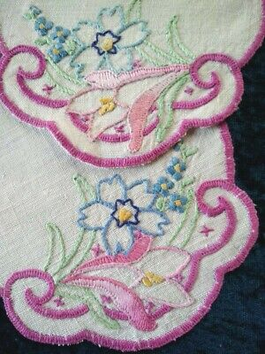 Wonderful 2 x Matching Cottage Flowers  Vintage Hand Embroidered Doilies
