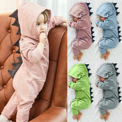 Newborn Infant Baby Boy Girl Dinosaur Hooded Romper Long Sleeve Jumpsuit Outfits