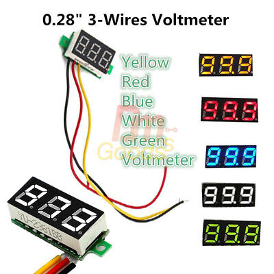 "0.28"" 3-Wires Red/Green/Blue/Yellow/White LED Display Voltmeter Volt Panel Meter"