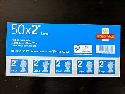 UNUSED MINT ROYAL MAIL 50 x 2nd CLASS LARGE STAMP SHEET/BOOK less than facevalue