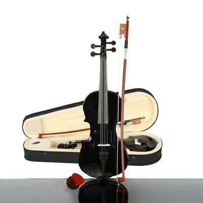 1/8 Size Beginners Acoustic Violin Set with Case Bow Rosin Bridge Black
