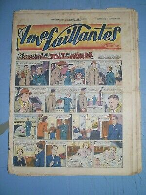 Ames Vaillantes mixed lot of 20 issues from 1952 french comics