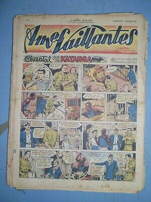 Ames Vaillantes mixed lot of 52 issues from 1951 french comics full year