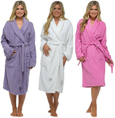 Ladies Luxury 100% Cotton Dressing Gown Womens Towelling Bath Robe Wrap NEW