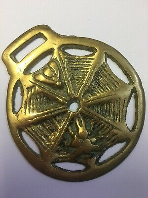 Horse Brass Spiders Web Vintage Collectable Stamped Fireside Home Pub Bar
