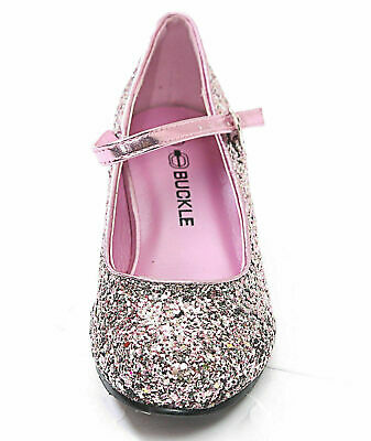 Girls Kids Children Low Heel Diamante Shiny Bow Sandals Wedding Party Shoes
