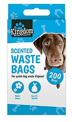 200 x Scented Dog Poo Bags Dog Poop Bag / Waste Bags Black Tie Handle Boxed NEW