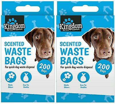 400 DOGGY POO BAGS Pet Pooper Scooper Bag Dog Cat Waste Scented Poop Tie Handle