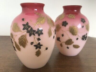 Pair Antique Late 19thC Pink Cased Glass Vases - Superb Quality