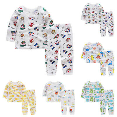 New Toddlers Baby Sleepwear Kids Girls Long Sleeved Pajamas Tops & Pants Set