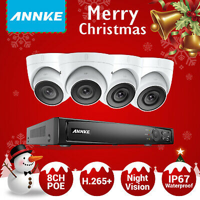 ANNKE CCTV H.265+ 8MP 8 Channel 4K NVR 4x 5MP POE Cameras Security System Motion
