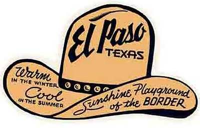 El Paso  TX    Texas   Vintage Looking   1950's Sticker Decal Luggage Label