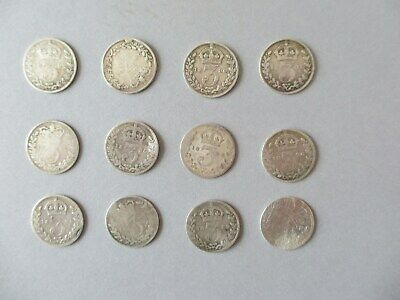 Victorian silver 3 pence  x 12