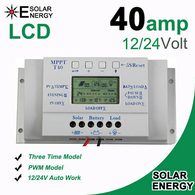 Solar Laderegler Charger  Controller 12V/24V 3 Timer Control LCD 10A 20A 30A