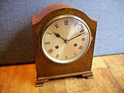 Antique 1930's German 8 Day Walnut Mantel Clock (with Chime Key and Pendulum)