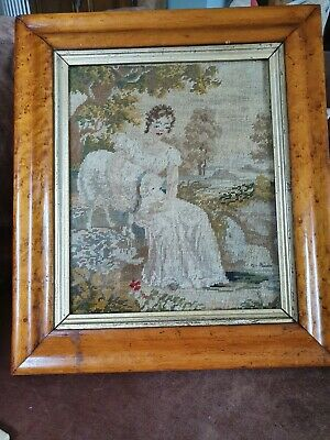 Stunning Antique Georgian Embroidery In Birds Eye Maple Frame shepherdess/ woman