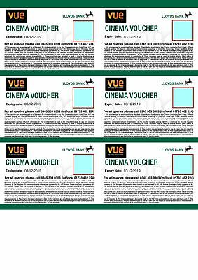 6 Vue Cinema Tickets - Expiry 30/06/2020 - Club Lloyds - emailed to you