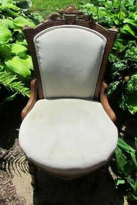 Carved Walnut Parlor Side Chair wheels front legs VTG PICK UP ONLY CT Sale Price