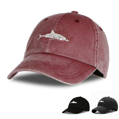 New Mens Washed Baseball Cap Cotton Adjustable Snapback Caps Fish Embroidery Hat