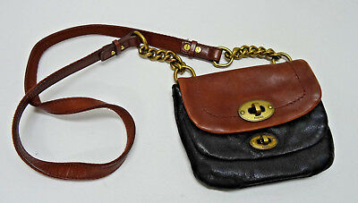 FOSSIL LONG LIVE VINTAGE BLACK & BROWN SMALL LEATHER CROSSBODY - GORGEOUS in EUC