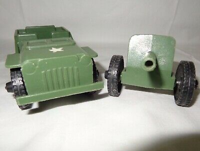 Vintage Tim-Mee Plastic Army Jeep and Howitzer Cannon Trailer * VTG