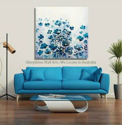 Stretched Canvas Original Hand Painted Wall Arts Cheap Price Blue Flowers