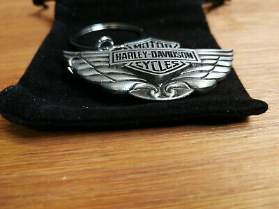 Harley-Davidson Pewter Bar & Shield Wings Logo Keychain