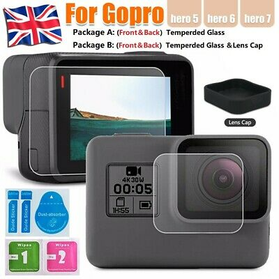 GoPro Go Pro Hero 5 6 7 Front Back Tempered Glass Screen Protector Lens Cap Set