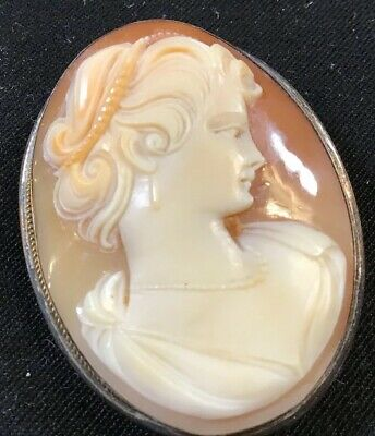 Antique Victorian Sterling Silver Cameo Carved Shell Brooch Pin Pendant