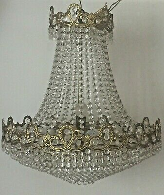 Antique Chandelier, Brass/Crystal, Empire Style, French/Spanish, Very Impressive