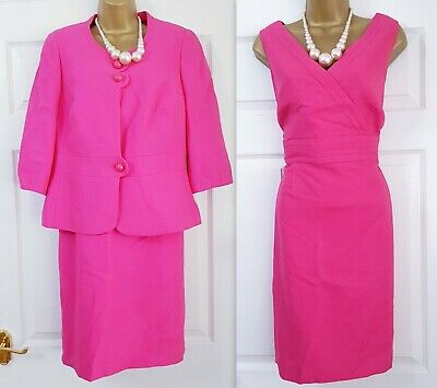 Planet Womens Pink 2 Piece Dress JacketSuit 14 - 16 Wedding Mother Of The Bride