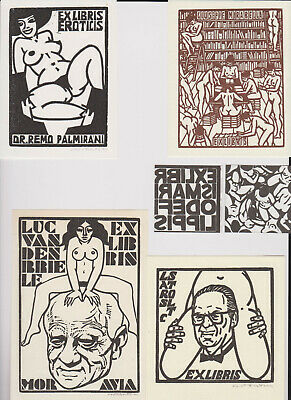 6 Exlibris Eroticis  C. Costantini Nude Women Library Old Men Lars Stolt 1980's