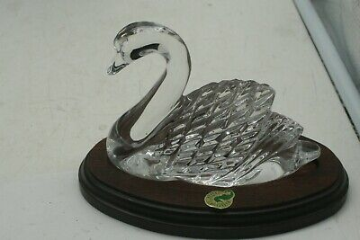 Vtg Waterford Crystal Swan Paperweight Figurine Signed Cork 1998 Eire