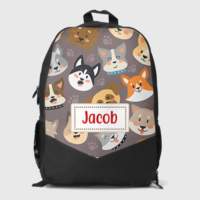 Personalised Cute Puppy Dog Faces Boys Girls Kids Children's School Bag Backpack