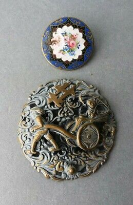 Vintage Chinese Enamel Cloisonne Metal Pin Brooches