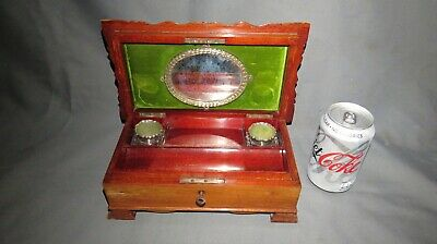 A CHARMING EARLY 20th CENTURY WRITING BOX WITH SILVER INK BOTTLES