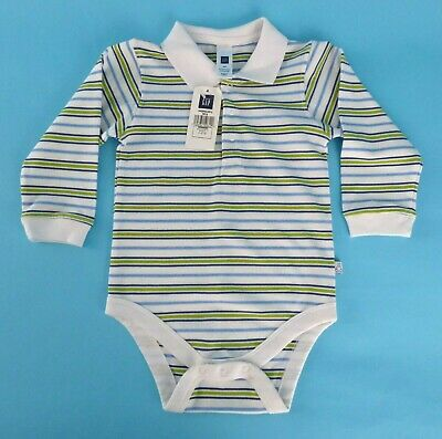 Baby Gap Baby Boy Bodysuit Polo Striped Long Sleeves Collar 3 Snap Front NWT