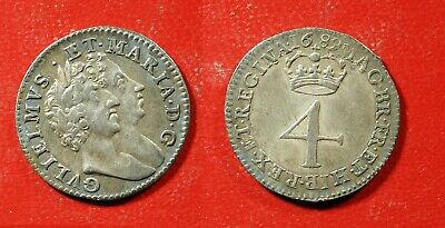 1689 UK William & Mary 4 pence SILVER - Solid XF   stk#wb274