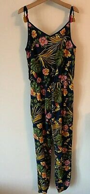 Girls M&CO Age 12 Years Floral Jumpsuit Floral Navy Blue Tropical Kylie