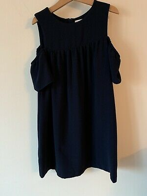 Girls Next Age 9 Years Navy Blue Dress Off The Shoulder