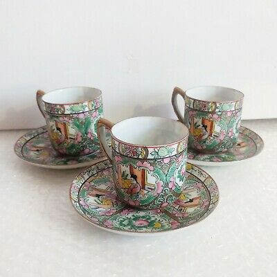 ANTIQUE CHINESE Famille Rose Medallion Hand Painted 3x Cup Saucer LOT 3