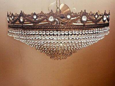 Crystal Chandelier, Ornate Brass/Antique, French/Spanish, 54cm, 9 Tiers, Huge