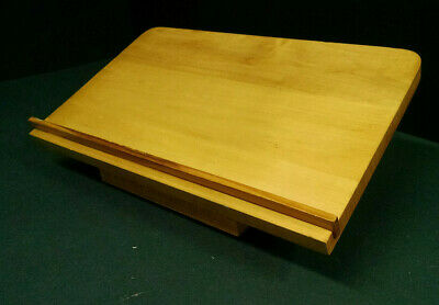 """Wooden Book Stand/Holder, Lazy Susan Turn Table Bottom, 14"""" x 9"""" Surface"""