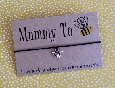 Mummy To Be Bee New Baby Pregnancy Congratulations Wish Bracelet Gift & Envelope