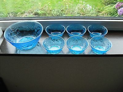 Six Italian Blue Glass Dessert Bowls Decorated With Fruit & Serving Bowl