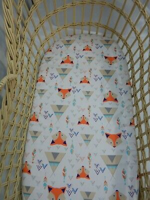 Bassinet Fitted Sheet Foxes Tepees 100% Cotton FITS STANDARD BASSINET