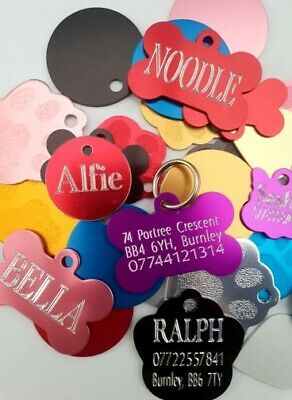 Personalised pet id tags,dog cat tag engraved ,deep engraving