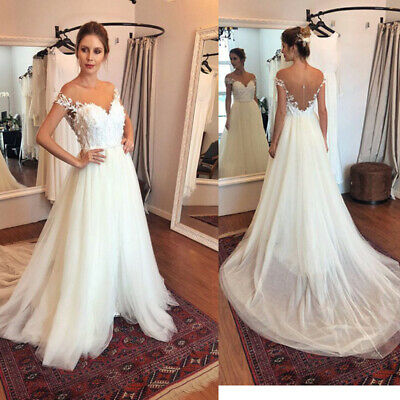 Womens Boho Sweat-Heart Wedding Beach Dresses Bridal Gowns Sleeveless A-Line