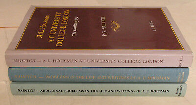 A. E. Housman Problems in Life & Writings / At University College London 3 books